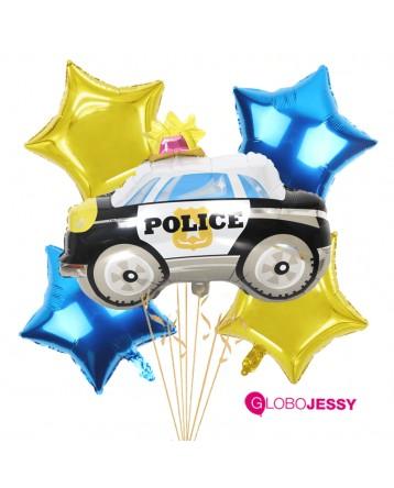 Auto Policia kit x 5 globos