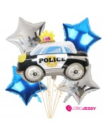 auto policia kit de globos